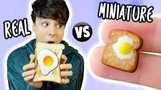 Download Lagu MINI Food vs. REAL Food 4!!! Egg, Toast, Cinnamon Bun & Croissant Gratis STAFABAND