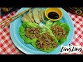 QUICK CHICKEN LETTUCE WRAPS RECIPE!  LING LING POTSTICKERS ON THE SIDE!!