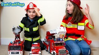 Pretend Play Cops & Robbers with Police and Firefighter Costumes + Fire Trucks
