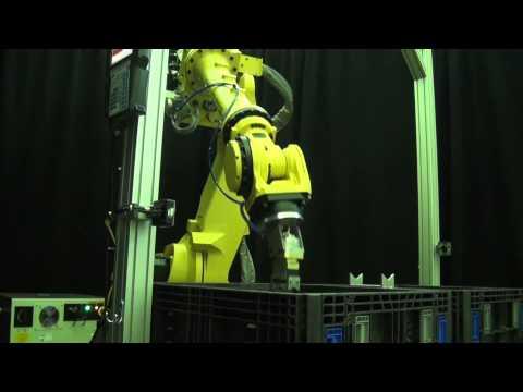 FANUC Robot Transfers 15-pound Steel Billets Using 3D Bin Picking