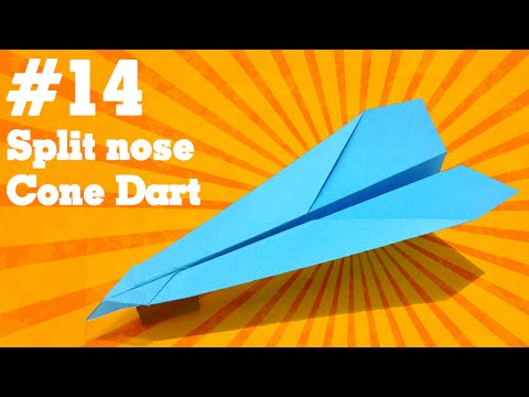 Origami easy - How to make a easy paper airplane glider that FLY FAR #14  Split Nose Cone Dart