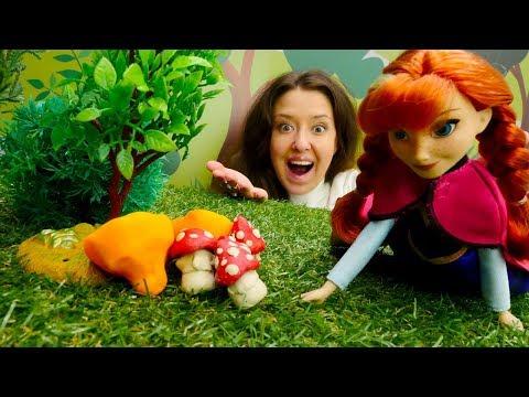 Веселая Школа. Собираем грибы с Анной. Видео для детей.