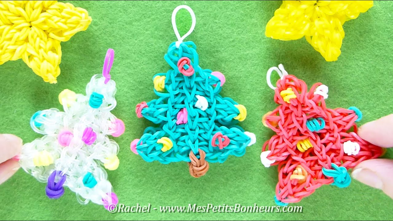 Tuto sapins de no l rainbow loom d coration en for Sapin de noel decore