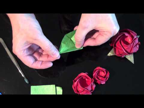 Origami Rose Bush Bonsai -4 - Leaves, Stems, and Thorns