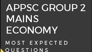 APPSC Group 2 Mains Economy ||  Most Expected Questions
