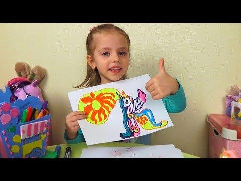 Маркер Челлендж КАК Я РИСУЮ Пони My Little Pony Видео для детей Marker Challenge