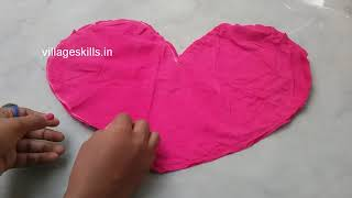 DIY Heart shape cushion from rags & leggings,recycling ideas ,how to make pillow from waste fabric
