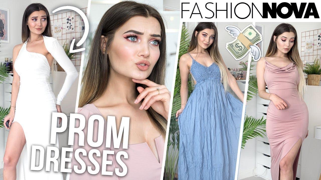 TRYING ON FASHION NOVA PROM DRESSES...