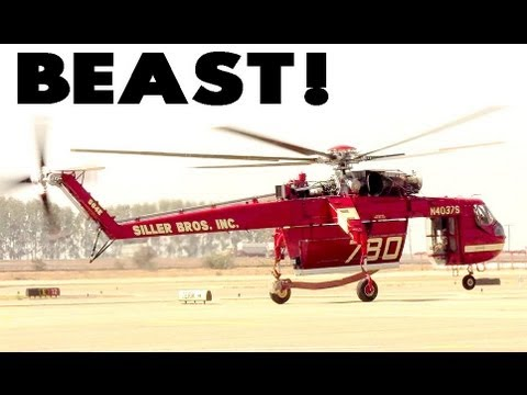 GIANT Heavy Lift  HELICOPTER-   Start up and take off -AWESOME SOUND!