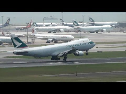Hong Kong Airport Plane Spotting. Takeoffs and Landings with Full Airport View