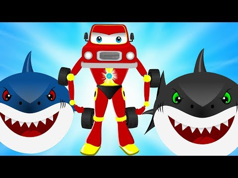 Scary Snowman w Flying Shark Stolen Kids Christmas Surprise Egg Rescue by Red Super Car | Kids Song