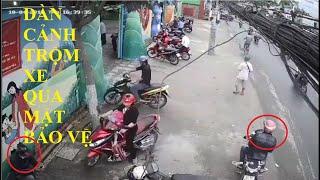 Dàn cảnh trộm cắp xe máy cổng trường mầm non có bảo vệ | trộm xe máy 2019
