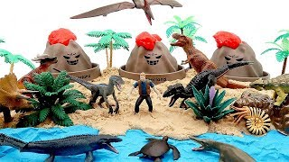3 Volcano Eruption In Jurassic World Island! Dinosaur Toys Real Sound Action Dino Fun Video
