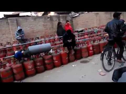 Nepal Fuel Crisis | LPG Cylinders Lined Up Outside Gas Store in Kathmandu