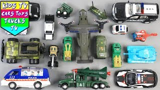 Learn Army And Police Vehicles For Kids Children Babies Toddlers | Police Car Army Jeep | Kids TV