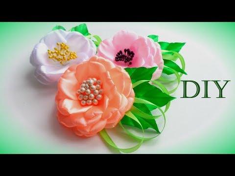 Атласные цветы канзаши своими руками мастер класс 955