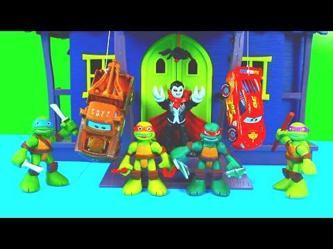 Disney Pixar Cars Lightning McQueen gets saved by Teenage Mutant Ninja Turtles TMNT Just4fun290