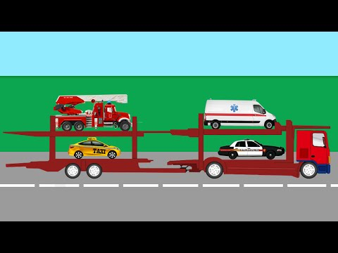 Автовоз и машины городских служб. Полицейская, Скорая, Пожарная и Такси
