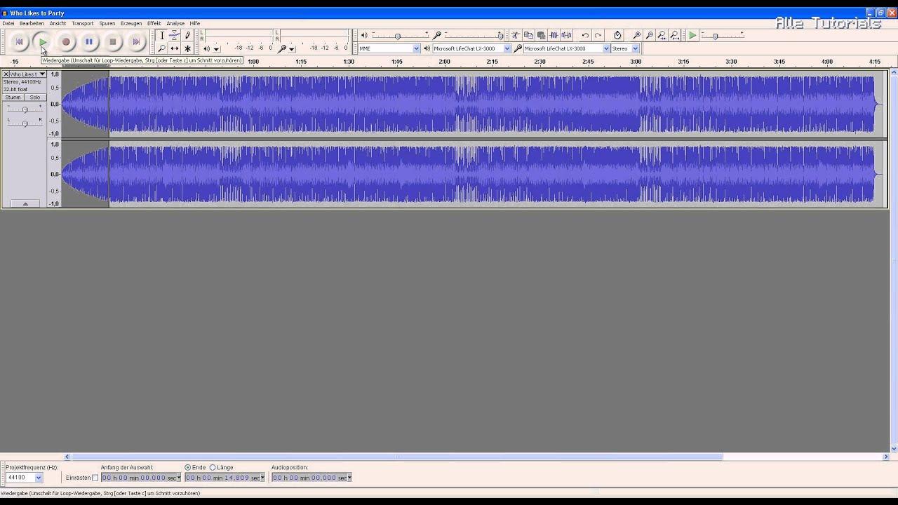 Audacity: Lied leiser werden lassen Tutorial deutsch - YouTube