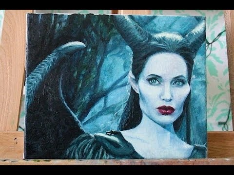 Maleficent / Angelina Jolie : Speed Painting ⌚ 8 hours in 2 minutes
