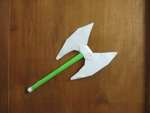 How to Make a Paper Double Headed Battle Axe - Easy Paper weapon tutorial