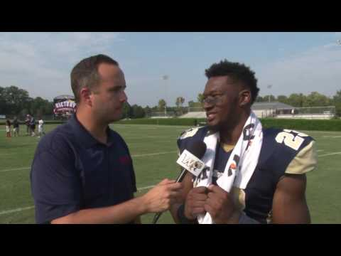 2016 Wingate Football -Shaw postgame with junior Lawrence Pittman