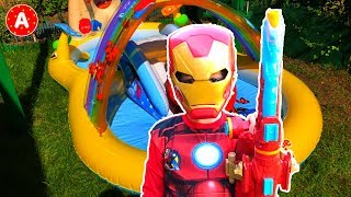 Superhero Iron Man Adam Opening Marvel Avengers Toys in Inflatable Winnie the Pooh Pool for Kids