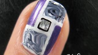 No Water Marble Nail Art Tutorial - Mosaic Swirly Square Rectangle Drag Marbling Design