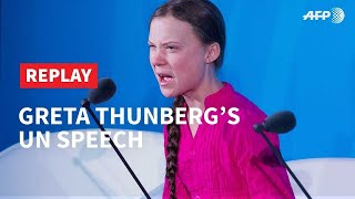 REPLAY - Greta Thunberg delivers emotional speech at UN | AFP