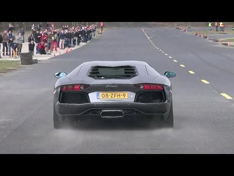 Lamborghini Aventador LP700-4 - Dragracing on a closed Airfield!