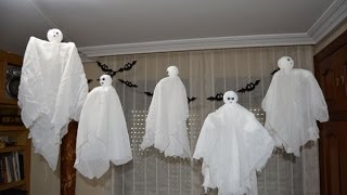 Fantasmas voladores para Halloween - Flying Ghosts for Halloween