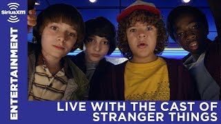 The cast of Stranger Things answering questions with SiriusXM's EW Radio