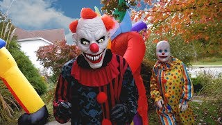 Scary Clown Attacks with 3 Giant Inflatable Halloween Decorations