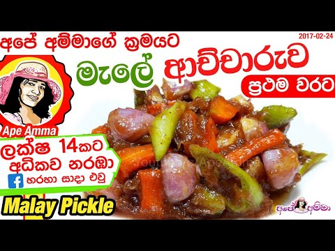 Malay pickle මැලේ ආච්චාරුවMale Achcharu Sinhala Recipe Video