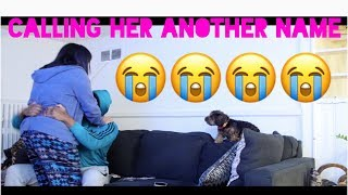 CALLING GIRLFRIEND ANOTHER GIRL'S NAME PRANK (SHE HIT ME)