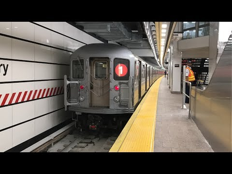 NYC Subway HD 60fps: R62 & R62A 1 Trains @ New South Ferry Station Reopening (6/27/17)
