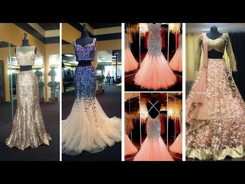 New -Latest transparent & Mirror Work Lehnga/ gown Dresses Design 2018