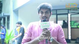 Abhimanyu At Saveetha College For Aadhiyan Movie Promotion