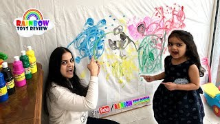 Baby & Mommy Learn Colors with Paint Fun Wall Painting for Toddlers, Kids, Children Colours Activity