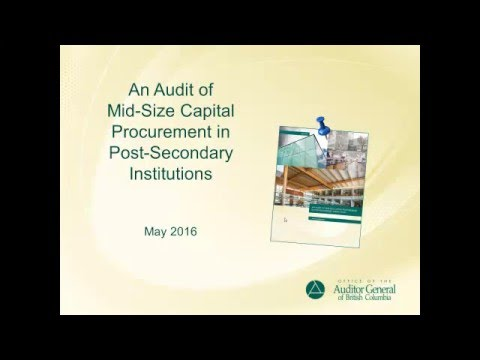 An Audit of Mid-Size Capital Procurement in Post-Secondary Institutions