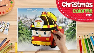 🎁 Roy Coloring Pages | ♫ Merry Christmas ♫ | Robocar Poli Special clips
