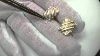 14kt yellow and white gold estate cufflinks with round diamonds,