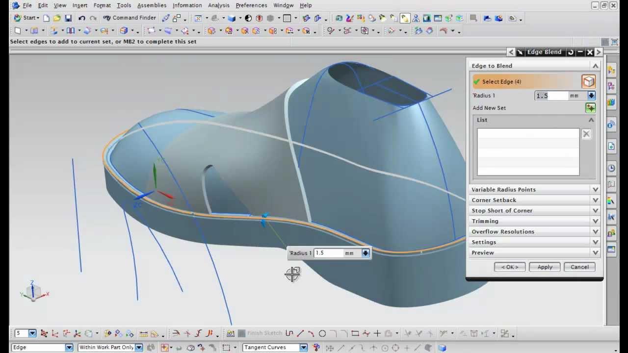 Nx Modeling Concept Design Footwear Youtube