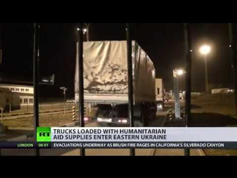 "Russian ""Ghost Aid"" Convoy - 200 military trucks - crosses Ukraine's border 13th Sept"