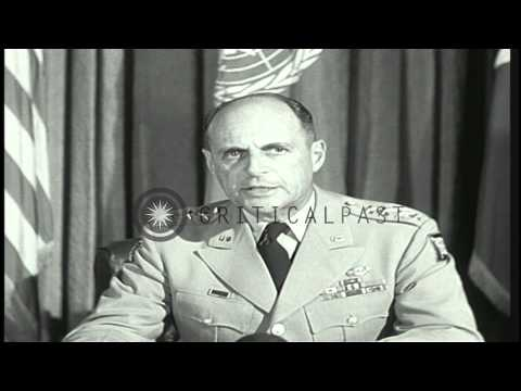 General Matthew B Ridgway in his speech in Japan thanks American people for gener...HD Stock Footage