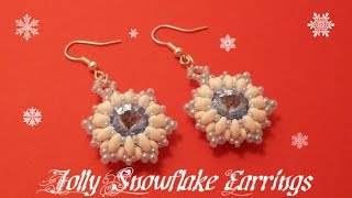 Jolly Snowflake Earrings Beading Tutorial by HoneyBeads1 (Christmas jewerly)