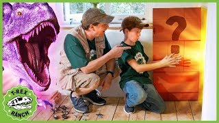Giant Dinosaurs & LB Finds a Secret Door! Kids Dinosaur Adventure with T-Rex & Pretend Play Toys