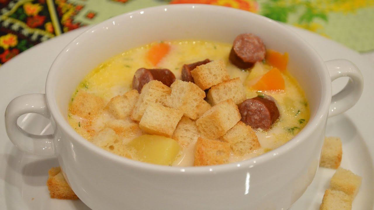 Рецепт сырного супа с копченой колбасой с пошагово