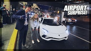 Picking up my Crush from the Airport in a LAMBORGHINI AVENTADOR S!