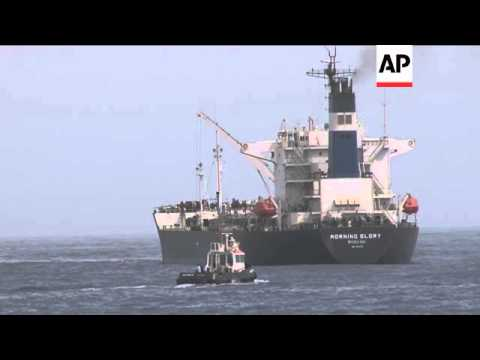 "ONLY ON AP Korean oil tanker ""Morning Glory"" docks and unloads crude shipment"